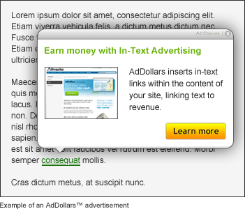 Example of Attracta AdDollars generating contextual advertising income
