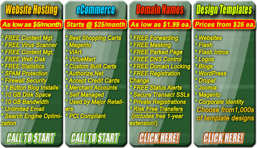 ... eCommerce Shopping Carts, $1.99 Domain Names, Website Design Templates